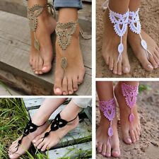 Boho Barefoot Sandals Crochet Cotton Foot Jewelry Anklet Bracelet Ankle Chain