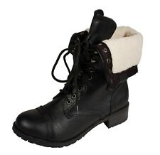 ORAL! Women's Military Mid-Calf Lace Up Fold-Over Faux Fur Combat Boots