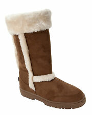 WOMENS CHESTNUT FAUX FUR LINED THICK RUBBER SOLE MID CALF WINTER BOOTS LADIES
