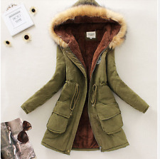 Womens Fur Hooded Slim Parka Thicken Winter Warm Fashion Coat Jacket Outerwear