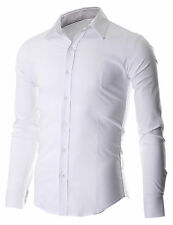 MEN'S SLIM FIT CASUAL BUTTON DOWN DRESS SHIRTS LONG SLEEVE (FSH600WH)