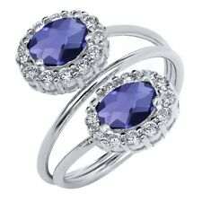 2.08 Ct Oval Checkerboard Blue Iolite 925 Sterling Silver Ring