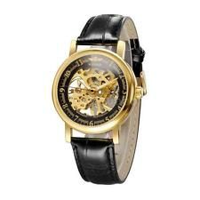 Classic Skeleton Hand Wind Mechanical Stainless Steel Leather Male Wrist Watch