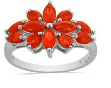Mexican Fire Opal Marquise cut orange color flower Ring in Sterling Silver