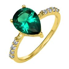 2.80 Ct Pear Shape Green Simulated Emerald 18K Yellow Gold Plated Silver Ring
