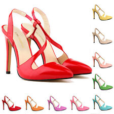Womens Patent Leather High Heels Ankle Sandals Bridal Wedding Party Shoes 4-11
