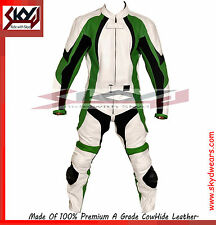 Green Motorcycle Leather Two Piece Suit Racing suit with Hump.