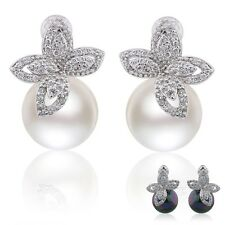 fantastic 18k white gold filled pearl charming  Topaz crystal stud earring