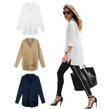 Women Fashion Long Sleeve Shirt Turn-down Collar OL Ladies Loose Tops Blouse