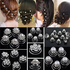 12PCS Silver Wedding Bridal Crystal Hair Twists Swirls Pins Spirals Pearl Flower