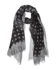 John Varvatos Star USA Stars Scarf Grey Silk Blend Italy SCW3315 $75 msrp NWT