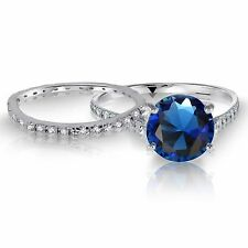 White Gold Blue Sapphire Wedding Engagement Eternity Sterling Silver Ring Set