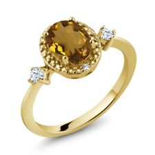 1.11 Ct Whiskey Quartz 18K Yellow Gold Plated Silver Ring With Accent Diamond