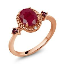 1.79 Ct Oval Red Ruby Red Rhodolite Garnet 18K Rose Gold Plated Silver Ring