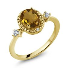 1.17 Ct Oval Whiskey Quartz White Topaz 18K Yellow Gold Plated Silver Ring