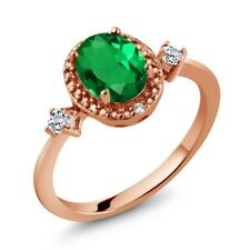 1.17 Ct Green Simulated Emerald White Topaz 18K Rose Gold Plated Silver Ring