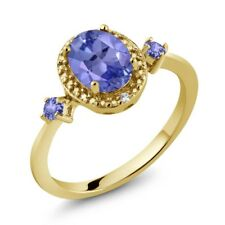 1.33 Ct Oval Blue Tanzanite 18K Yellow Gold Plated Silver Ring