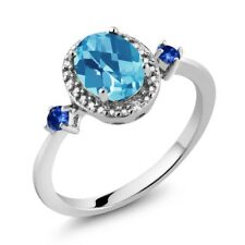 1.47 Ct Oval Swiss Blue Topaz and Sapphire 925 Silver Ring With Accent Diamond