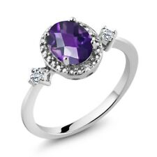 1.17 Ct Oval Checkerboard Purple Amethyst White Topaz 925 Sterling Silver Ring