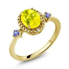 1.47 Ct Canary Mystic Topaz Blue Tanzanite 18K Yellow Gold Plated Silver Ring