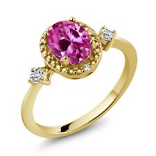 1.82 Ct Pink Created Sapphire White Topaz 18K Yellow Gold Plated Silver Ring