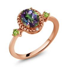 1.45 Ct Oval Green Mystic Topaz Green Peridot 18K Rose Gold Plated Silver Ring