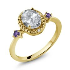 1.43 Ct Oval White Topaz Purple Amethyst 18K Yellow Gold Plated Silver Ring