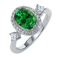2.27 Ct Oval Green Simulated Emerald White Topaz 925 Sterling Silver Ring
