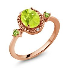 1.25 Ct Oval Yellow Lemon Quartz Green Peridot 18K Rose Gold Plated Silver Ring
