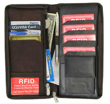 RFID Security Safe Leather Travel Wallet Passport Airline Ticket Check Zip Case