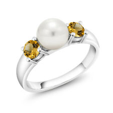 0.64 Ct Round Yellow Citrine 925 Sterling Silver 3-Stone Women's Ring