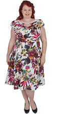 "New Plus Size Vintage White Floral Cotton 50""s Dress 