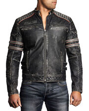Affliction Black Premium - FAST LANE - Men's Leather Biker Jacket  - Black