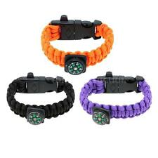 Paracord Bracelet with Flint Stone Whistle Buckle Emergency Survival Tool 7RP9