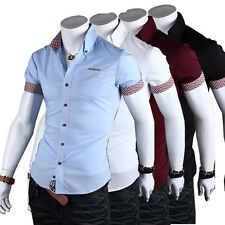 Stylish Men White/Black/Blue/Wine Red Short Sleeve Button Front Casual Shrit