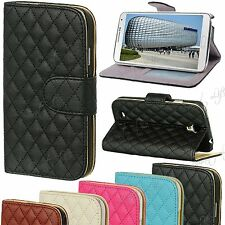 Leather Wallet Quilted Flip Pouch Case Cover For Smart Mobile Phon Samsung Apple