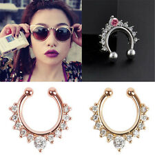 1Pc Fake Septum Clicker Crystal Nose Ring Non Piercing Hanger Clip On Jewelry c