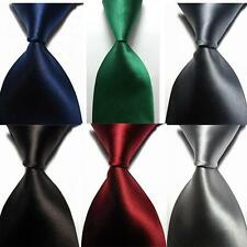 Men's New Classic Solid 100% Silk JACQUARD WOVEN New Tie Necktie 14 Colors DD36
