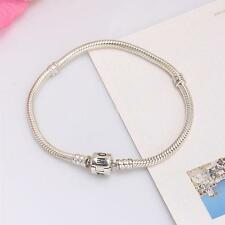 S925 Sterling Silver Snake Chain Bracelet w Clasp Fit European Charms Beads 93PP