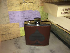 Custom Spade Leather Hand Dyed Stainless Steel Flask Wedding Gift
