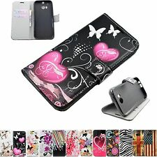 Premium Flip Stand Leather Wallet Pouch Phone Cover GEL Case For HTC One M8 2014