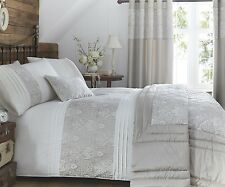 KINGSLEY DUVET QUILT COVER LUXURY MODERN EMBROIDERED BEDDING BED SET GOLD CREAM