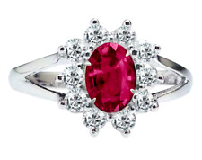 Natural Ruby Oval cut & white topaz 0.925 Sterling Silver Ring size 7