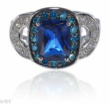 Large Emerald Cut 14k Black Gold Sapphire w/ Topaz Genuine Sterling Silver Ring