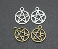 wholesale lot silver/bronze two sided round Pentagram charm pendants 20x17mm