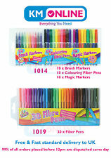 Colouring Fiber Pens Brush Marker Magic Markers 30 Bright Pens Set Strong Tip