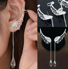 Pair Cuff Clip Crystal Silver Plated Angel Wing Earrings Drop Dangle Ear Stud