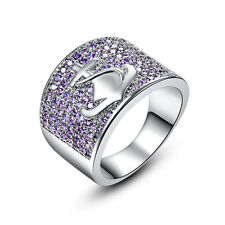 Fashion Jewelry Boat Anchor 18K White Gold Filled Amethyst Ring Size 6 7 8 9 10