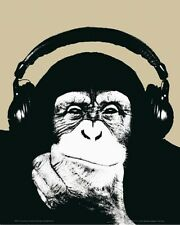 New Monkey with Headphones Thinking by Steez Mini Poster