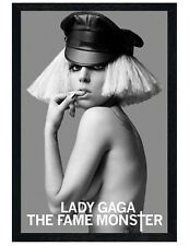 Lady GaGa Black Wooden Framed Leather Cap Maxi Poster 61x91.5cm